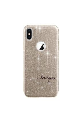 cupcase Iphone Xr Kılıf 6.1 Inc Simli Parlak Kapak Altın Gold Renk - Stok1606 - I Love U 0