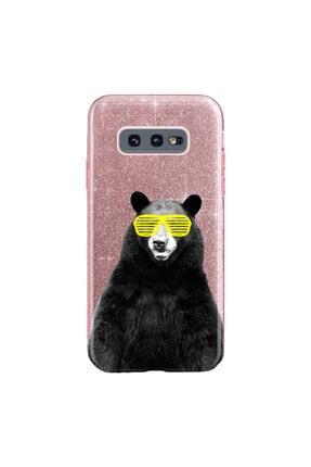 cupcase Samsung Galaxy S10e Kılıf Simli Parlak Kapak Pembe Rose Gold - Stok709 - Kanye Bear 0
