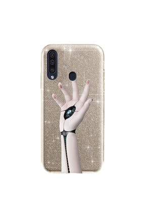 cupcase Samsung Galaxy A20s Kılıf Simli Parlak Kapak Altın Gold Renk - Stok1496 - Robotic 0