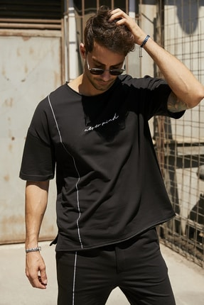 Sateen Men Erkek Siyah Yazılı T-Shirt 0