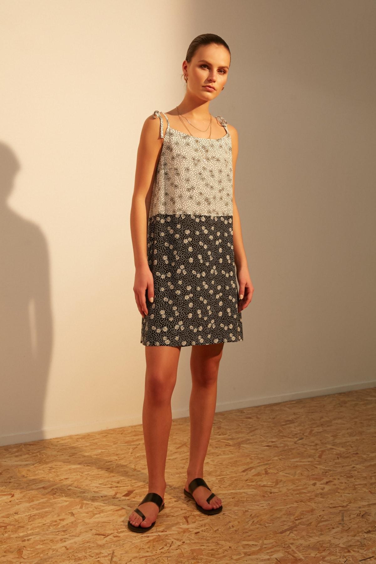 Kadın Multi Renk Askılı Floral Mini Elbise 377755