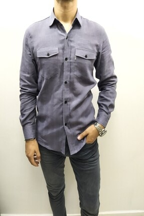 Erkek Gri Keten Slim Fit Gömlek CC0062