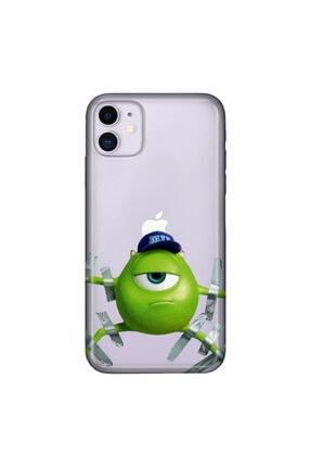 cupcase Iphone 11 Kılıf Resimli Esnek Silikon Kapak Monster Desenli + Temperli Cam 0