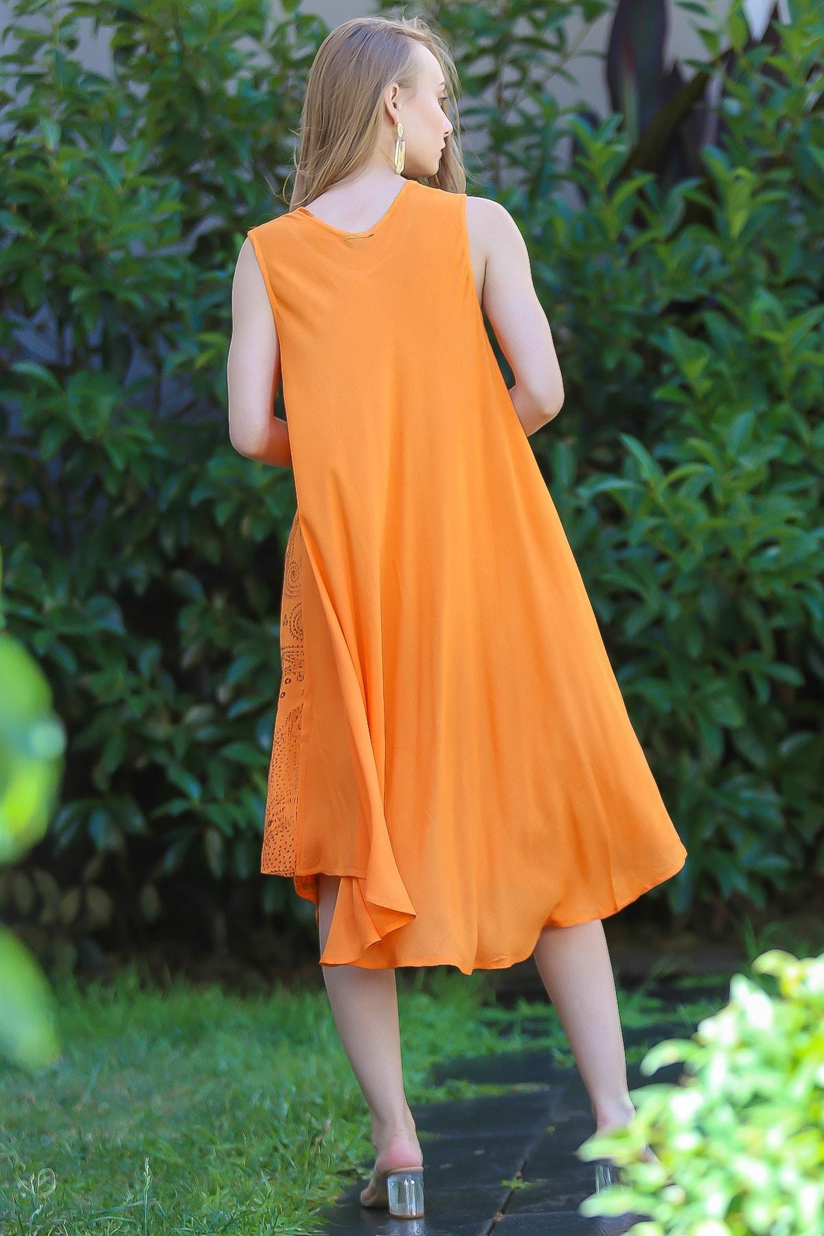 Chiccy Kadın Turuncu Bohem Şal Desen Baskılı Salaş Elbise M10160000EL96407 2
