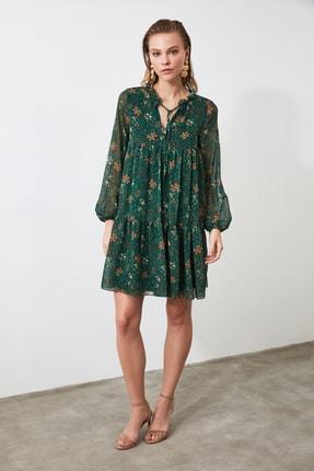 TRENDYOLMİLLA Yeşil Çiçek Desenli Bağlama Detaylı Elbise TWOAW20EL1778 1