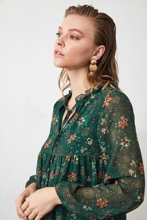 TRENDYOLMİLLA Yeşil Çiçek Desenli Bağlama Detaylı Elbise TWOAW20EL1778 2