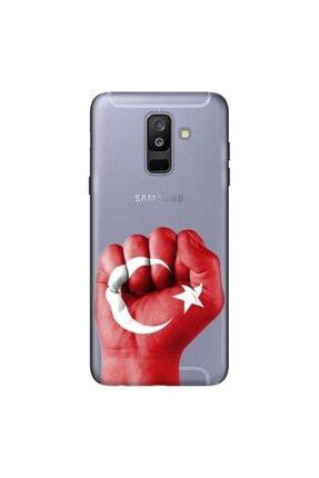 cupcase Samsung Galaxy A6 Plus 2018 Kılıf Esnek Kapak Tc Desen + Temperli Cam 0