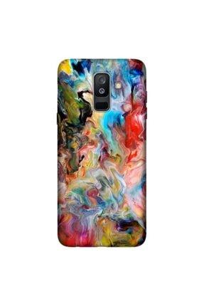 cupcase Samsung Galaxy A6 Plus 2018 Kılıf Esnek Kapak Boyaların Dansı Desen + Temperli Cam 0
