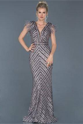 Abiyefon Kadın Antrasit Uzun Pul İşlemeli Otrişli Abiye Elbise 0