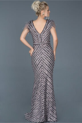 Abiyefon Kadın Antrasit Uzun Pul İşlemeli Otrişli Abiye Elbise 1
