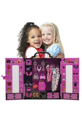 SUDEN Sonsuz Hareket Bebekli Barbie Gardrobu, Çantalı Giysi Dolabı 1