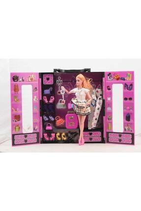 SUDEN Sonsuz Hareket Bebekli Barbie Gardrobu, Çantalı Giysi Dolabı 2