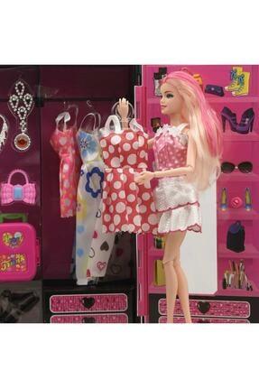 SUDEN Sonsuz Hareket Bebekli Barbie Gardrobu, Çantalı Giysi Dolabı 4