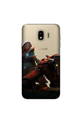cupcase Samsung Galaxy J4 Kılıf Esnek Silikon Kapak Dota Desen + Temperli Cam 0