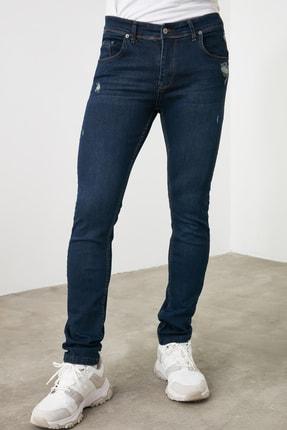 TRENDYOL MAN Lacivert Erkek Tırmık Destroylu Skinny Jeans TMNAW20JE0437 1