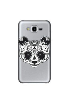 cupcase Samsung Galaxy J7 Core Kılıf Silikon Kapak Pandass Desen + Temperli Cam 0
