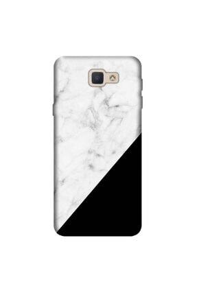 cupcase Samsung Galaxy J7 Prime Kılıf Silikon Kapak Siyah Beyaz Mermer Desen + Temperli Cam 0