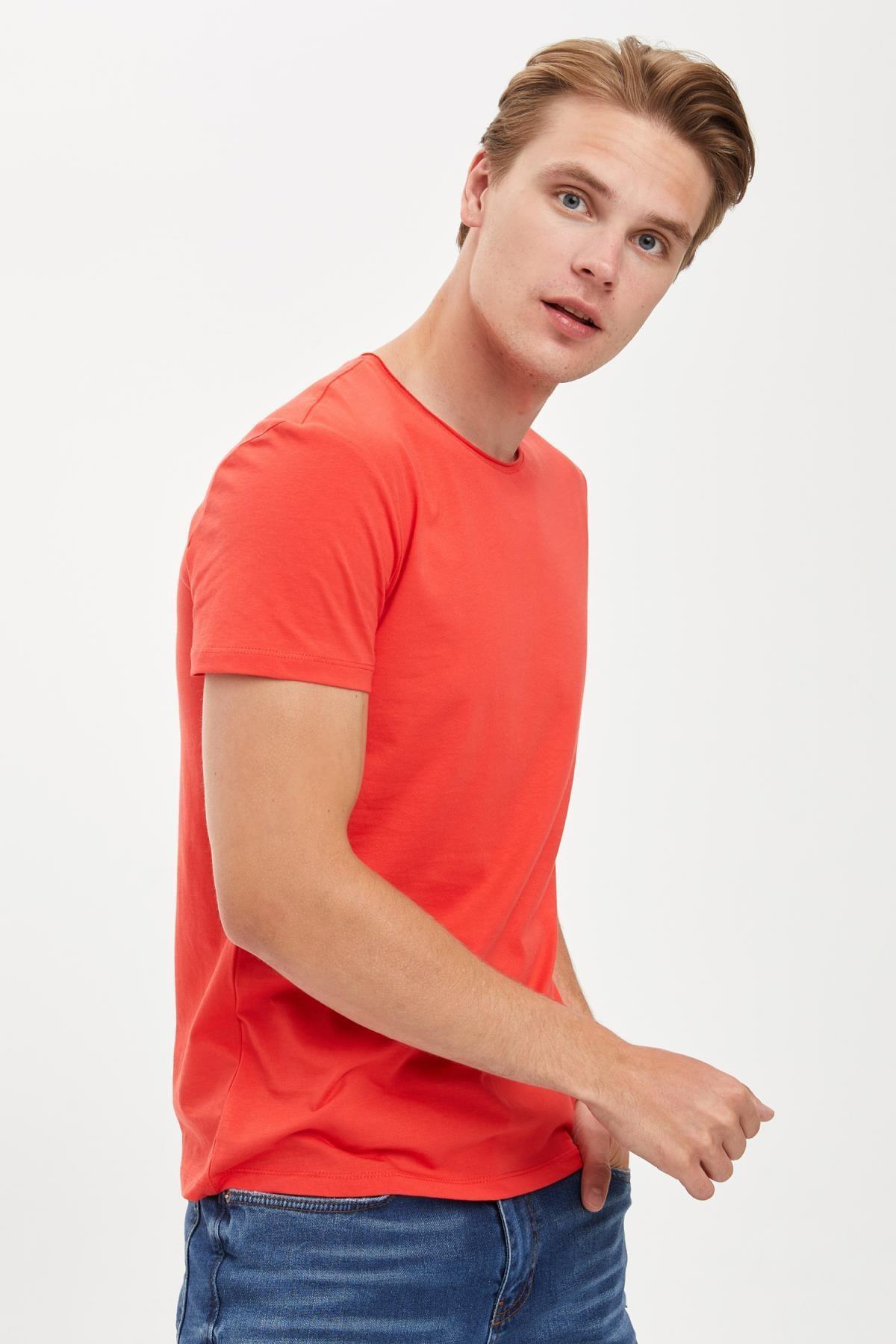 Defacto Erkek Kırmızı Slim Fit Bisiklet Yaka Basic Pamuklu Tişört S4972AZ20HS 0