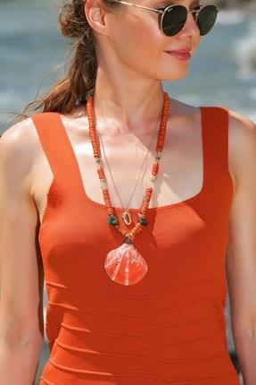 Trend Alaçatı Stili Kadın Mercan Doğal Taş İstiridye Kolye ALC-A1944 0