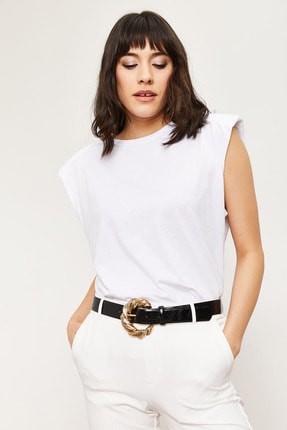 Bianco Lucci Kadın Vatkalı Penye Basic T-shirt 3