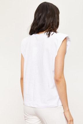 Bianco Lucci Kadın Vatkalı Penye Basic T-shirt 4