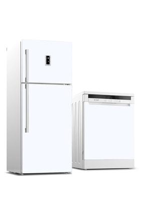 Tilki Dünyası Buzdolabı Ve Bulaşık Makinesi Kaplama Sticker 501 Beyaz 0