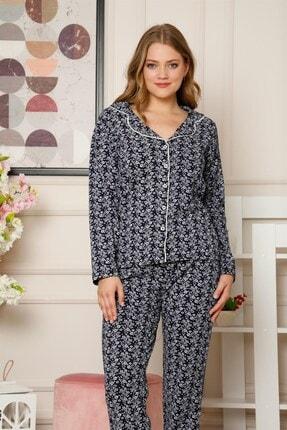 Akbeniz Kadın Pamuklu Düğmeli Cepli Uzun Kol Pijama Takım 2485 2