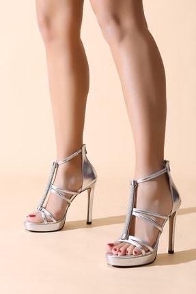 ALTINAYAK Arka Fermuarlı Taşlı Direkli Açık Platform Ayakkabı 0