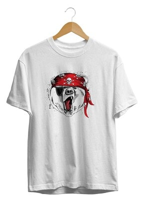Burlu Unisex Beyaz Kızgın Ayı Teddy Cool Kurukafa Bandana Baskılıu T-Shirt 0