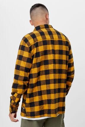 Bershka Erkek Hardal Uzun Kollu Kareli Gömlek 1