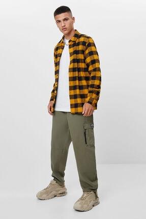 Bershka Erkek Hardal Uzun Kollu Kareli Gömlek 3