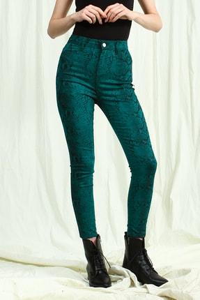 Collezione Kadın Zümrüt Yeşil Yüksek Bel Desenli Skinny Pantolon 0