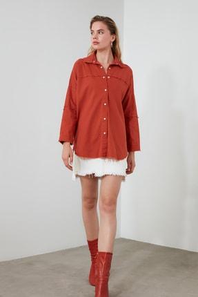 TRENDYOLMİLLA Kiremit Basic Gömlek TWOSS20GO0422 1