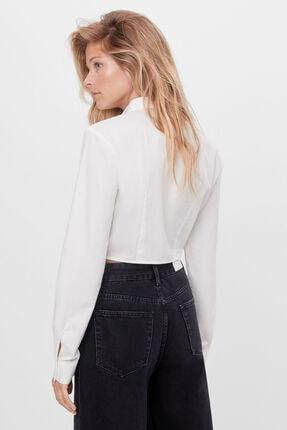 Bershka Kadın Beyaz Yırtmaçlı Poplin Gömlek 2