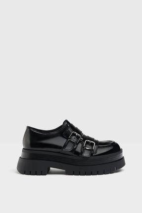 Bershka Kadın Siyah Tokalı Düz Maksi Platform Ayakkabı 1