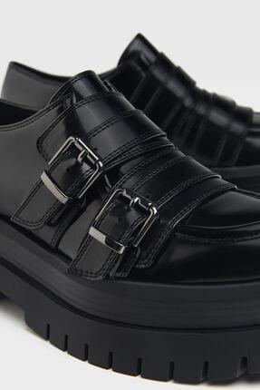 Bershka Kadın Siyah Tokalı Düz Maksi Platform Ayakkabı 2