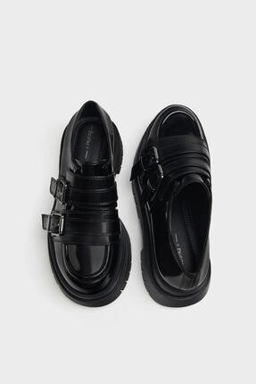 Bershka Kadın Siyah Tokalı Düz Maksi Platform Ayakkabı 4