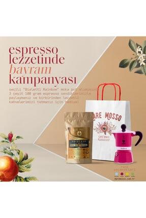 Mare Mosso Caffe ê Vendite Bıalettı Moka Pot Raınbow Fucshıa - Fuşya 6 Cup + 3 X 100 Gr Espresso Hediye 1
