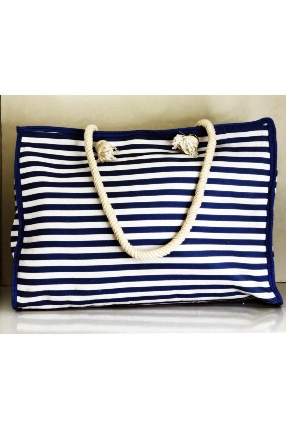 Kadın Mavi Beyaz Çanta - Seyahat Çantası - Plaj Çantası