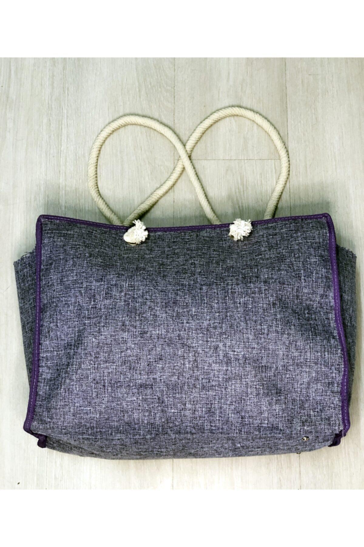 Kadın Mor Renk Çanta - Seyahat Çantası - Plaj Çantası