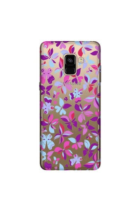 cupcase Samsung Galaxy A8 Plus 2018 Kılıf Hd Silikon Mor Kelebek Kapak + Nano Cam 0