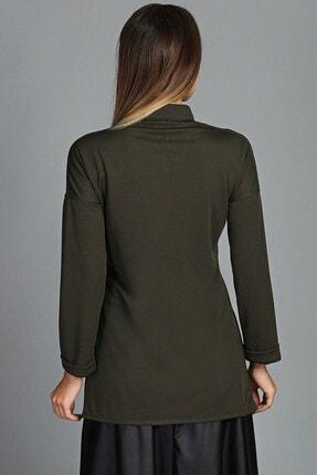Womenice Kadın Haki Çift Cep Gömlek 2