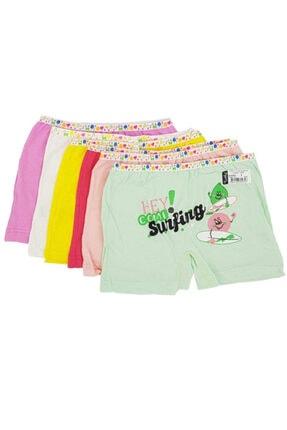 Tutku Kız Çocuk Renkli Likralı Pamuk Boxer 12'li Paket 0