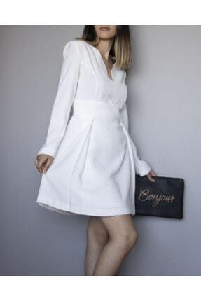 ÑOVUM PERA Kadın Beyaz Uzun Kollu Vatkalı Elbise 0