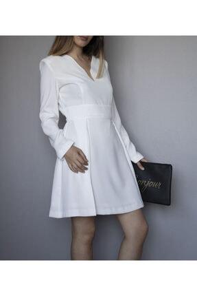 ÑOVUM PERA Kadın Beyaz Uzun Kollu Vatkalı Elbise 1