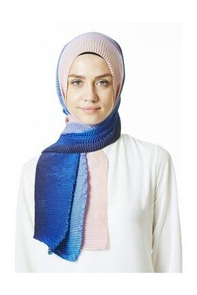 Cachmira Kadın Mavi Pudra Pliseli Şal 07 0
