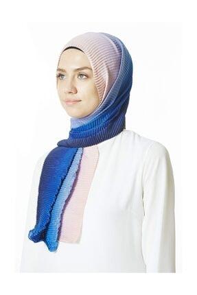 Cachmira Kadın Mavi Pudra Pliseli Şal 07 2