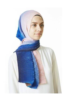 Cachmira Kadın Mavi Pudra Pliseli Şal 07 3