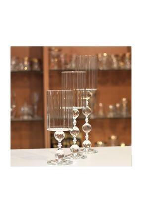 KristalGalerisi Şamdan Kristal Ayaklı Silindir Gümüş - 3'lü Set 1