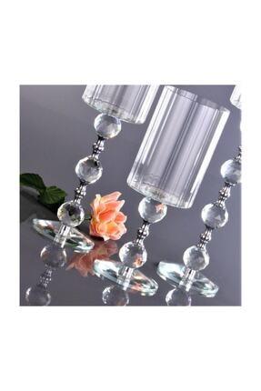 KristalGalerisi Şamdan Kristal Ayaklı Silindir Gümüş - 3'lü Set 2